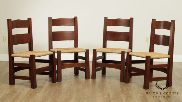 Vorhees Craftsman Mission Oak Style Set 4 Rush Seat Dining Chairs