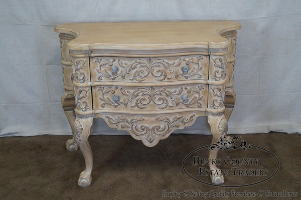 Century Baroque Style Carved Serpentine 2 Drawer Chest
