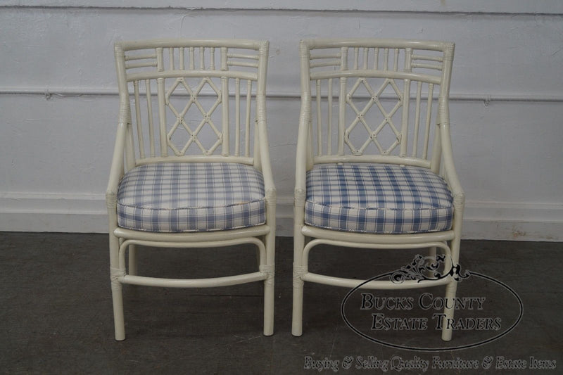 Quality Pair of White Rattan Bamboo Arm Chairs possibly McGuire