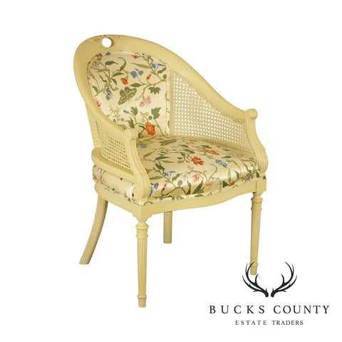 Hollywood Regency Style Cream Lacquered Barrel Back Caned Armchair