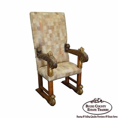 18th Century Italian Renaissance Patchwork Leather Partial Gilt Throne Chair