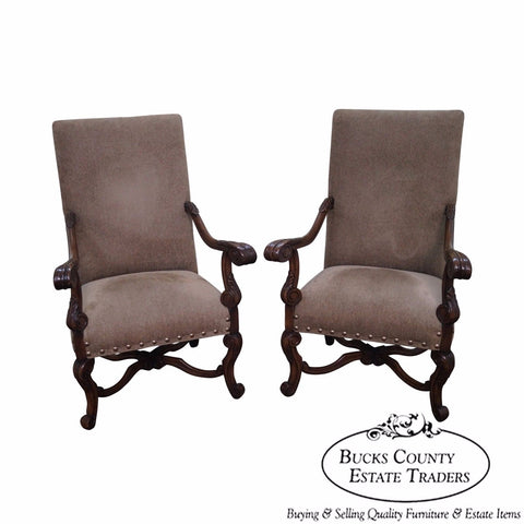 Quality Pair of Walnut Renaissance Style Throne Arm Chairs