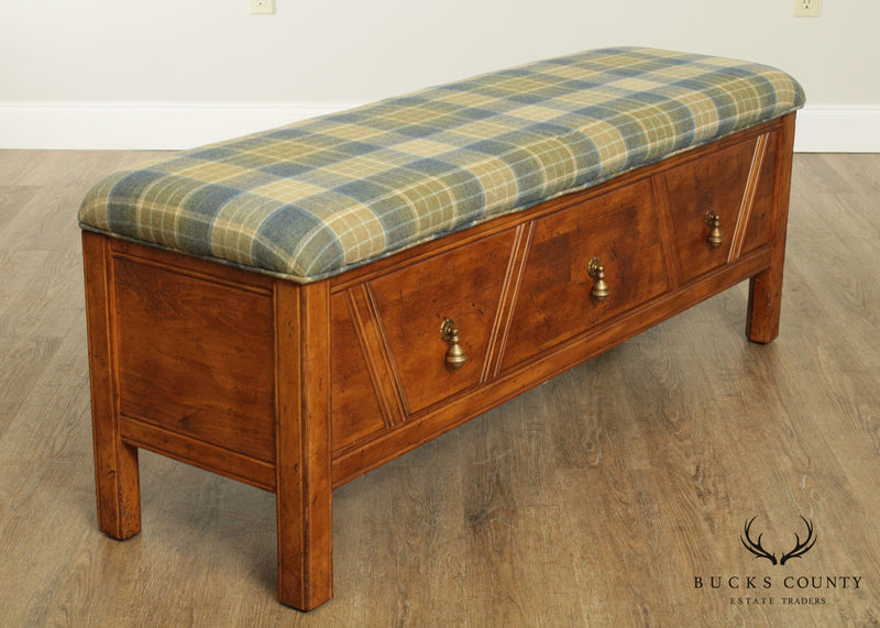 English Country Style End of Bed Bench with Storage