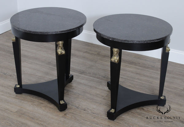 French Empire Style Vintage Pair Black Lacquer Round Marble Top Gueridon Side Tables