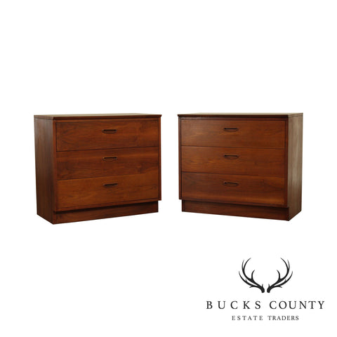 Lane Mid Century Modern Walnut Pair 3 Drawer Chests