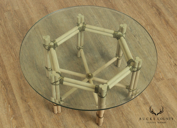 Mid Century Modern Faux Bamboo Wrought Iron & Brass Round Glass Top Coffee Table