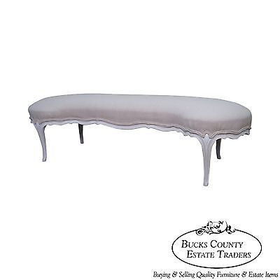 Unusual Kidney Shaped French Louis XV Style Painted Window Bench