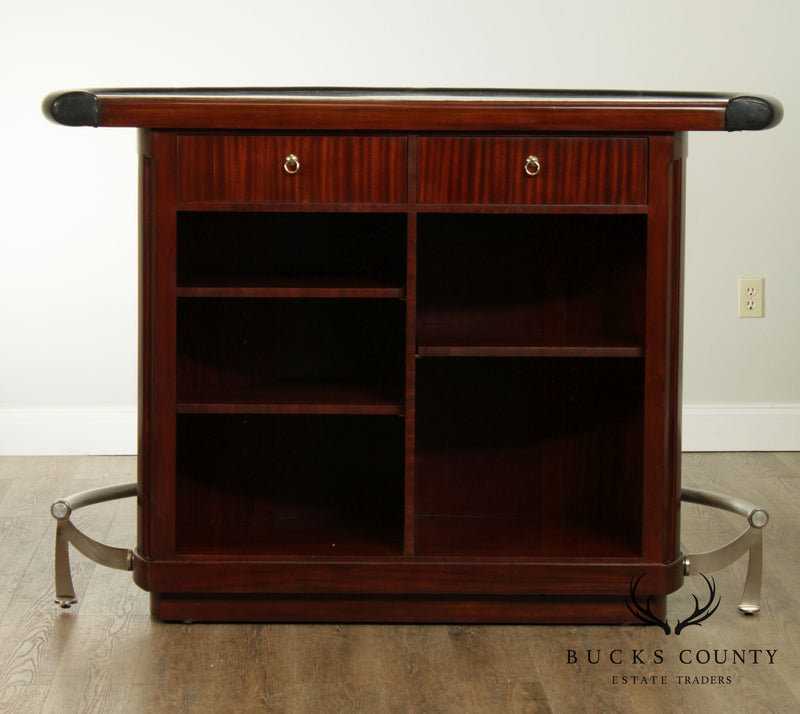Thomasville Bogart Collection Mahogany Demilune Granite Top Bar