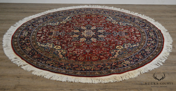 Hand Tied Red & Blue Round Area Rug