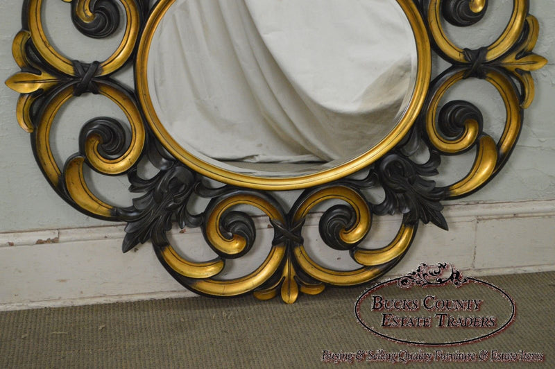 Large Baroque Style Partial Gilt Beveled Wall Mirror