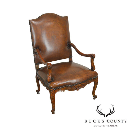 Theodore Alexander French Louis XV Style Brown Leather Carved Mahogany Arm Chair