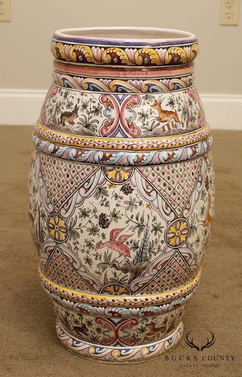 Berardes Portugal Hand Painted Pottery Umbrella Stand