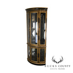 Jasper Black & Gold Chinoiserie Painted Bow Glass Corner China Curio Cabinet