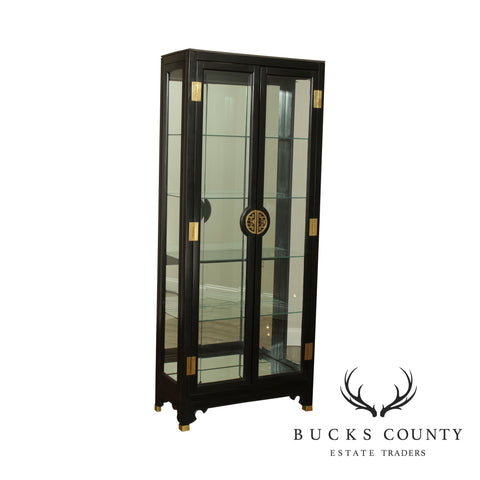 American Of Martinsville Black Lacquer Asian Style Curio Display Cabinet