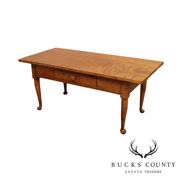 Wilcox Cabinet Works Tiger Maple One Drawer Coffee Table