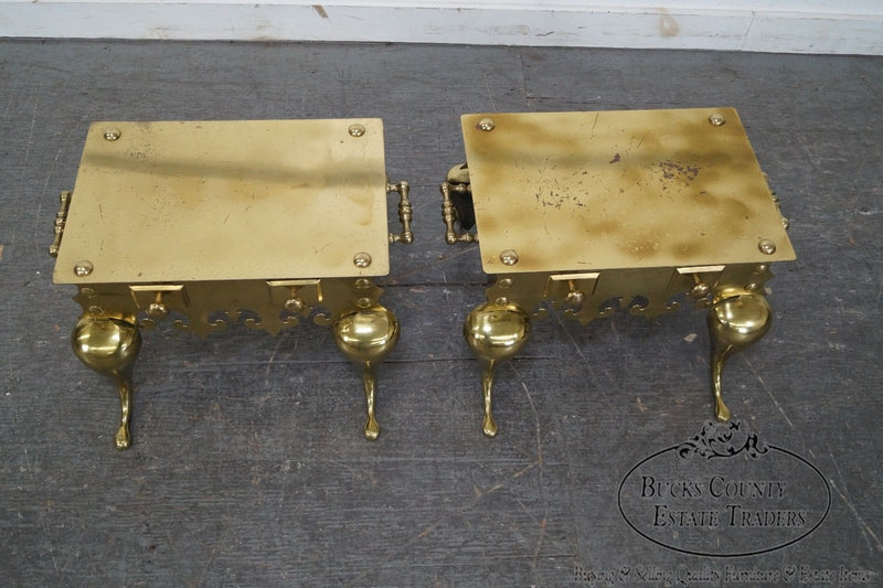 Quality Pair of Brass Footman Low Tables