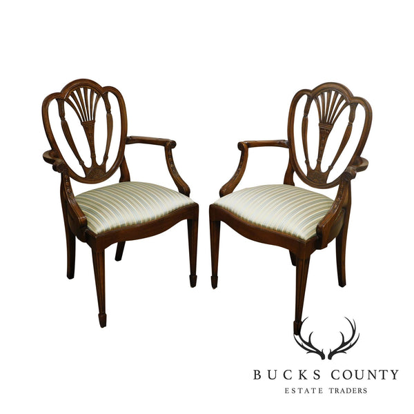 Federal Style Custom Quality Mahogany Pair Shield Back Armchairs
