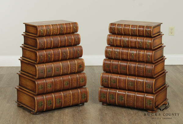 Maitland Smith Vintage Pair Faux Stacking Books, Chest of Drawers, Side Tables