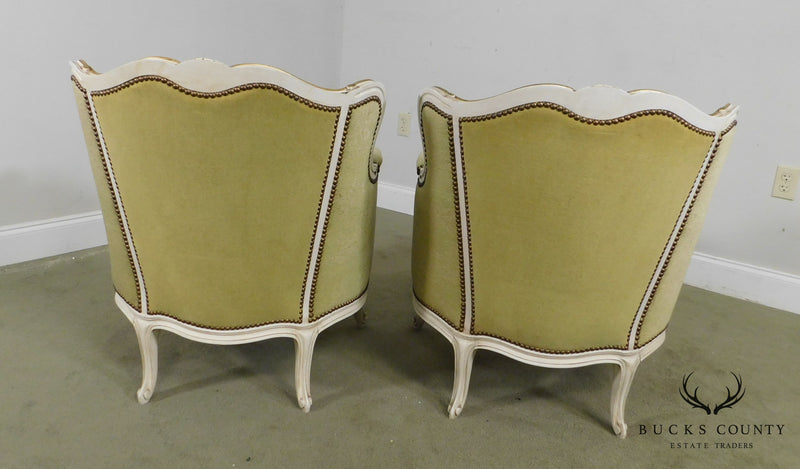 French Louis XV Style Pair Vintage Pair Painted Bergere Chairs