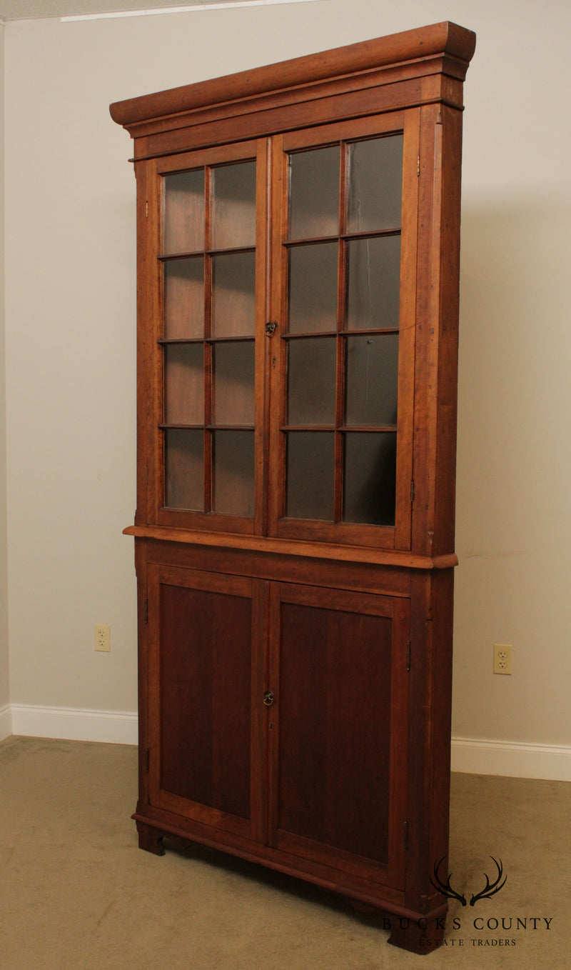 Antique 19th Century American Cherry Southern Corner Cabinet