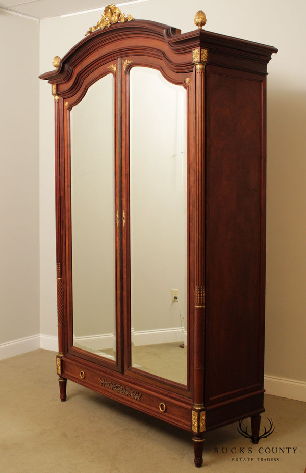 French Louis XV Antique Mahogany Mirror Door Armoire, Bronze