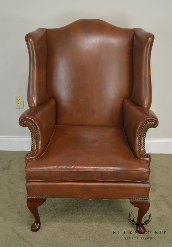 George III Vintage Faux Brown Leather Mahogany Wing Chair