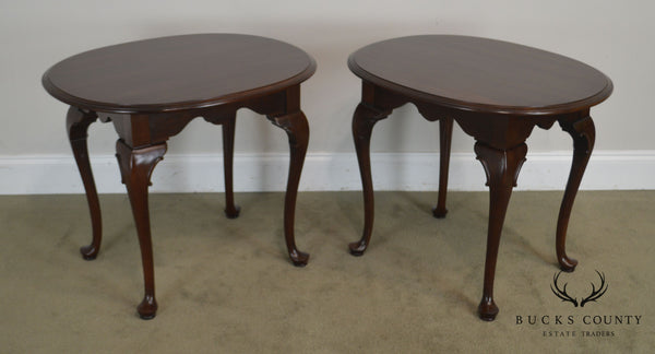 Ethan Allen Georgian Court Pair Cherry Oval Side Tables