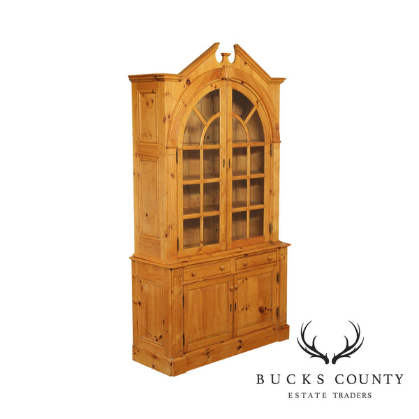 Custom English Pine Architectural Bookcase or China Cabinet