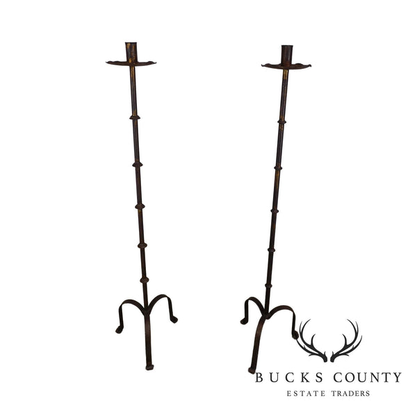 Pair Gothic Floor Standing Wrought Iron Single Candle Holders