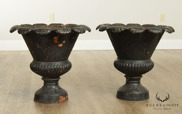 Vintage Pair Cast Iron Large Garden Urns