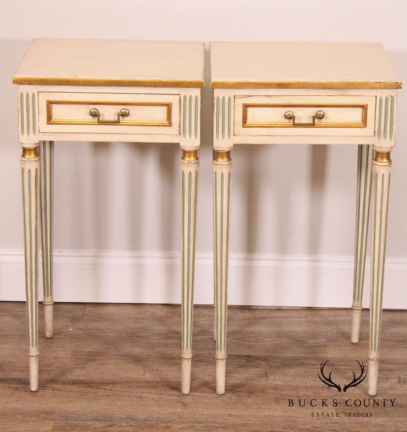 Kittinger French Louis XVI Style Vintage Painted Pair One Drawer Nightstands