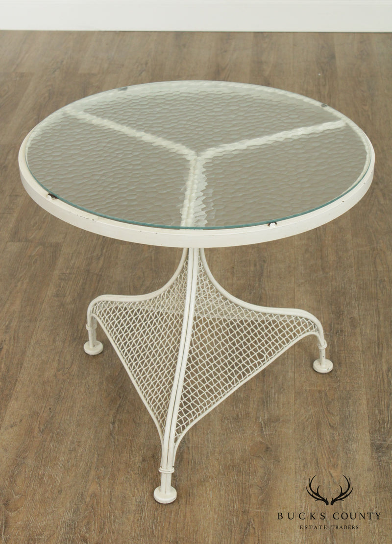 Russell Woodard Vintage 1950's Wrought Iron Round Glass Top Patio Side Table