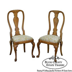 Georgian Queen Anne Style Pair of Antique Walnut Side Chairs