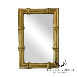Hollywood Regency Vintage Faux Bamboo Gilt Frame Mirror