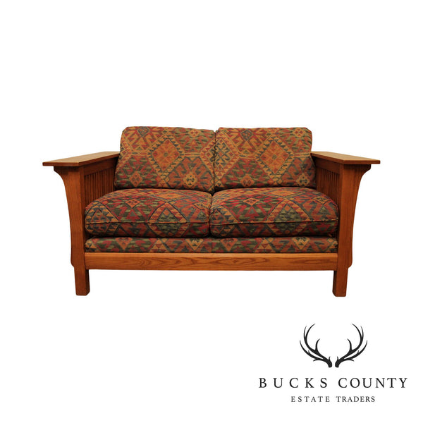 Bassett Mission Style Oak Spindle Loveseat