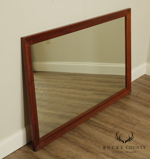 Vintage Solid Cherry Wood Frame Rectangular Wall Mirror