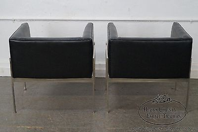 Knoll Pair Mid Century Modern Chrome Frame Black Leather Lounge Chairs (A)