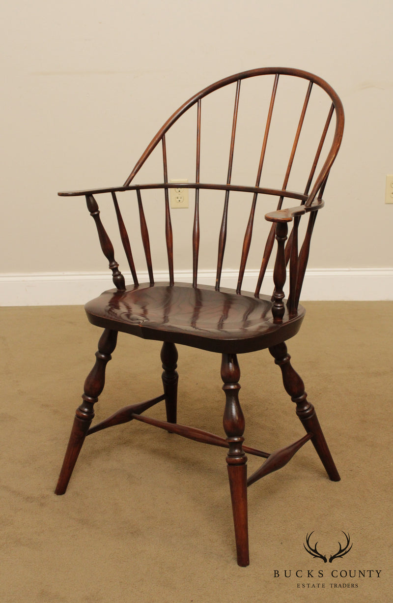 The Bartley Collection Custom Crafted Elm Wood Windsor Armchair (B)