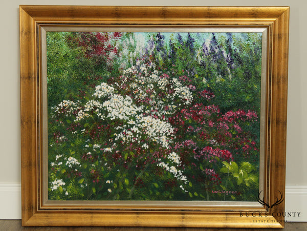 Lee Wagner Framed Oil Painting Of Flowers