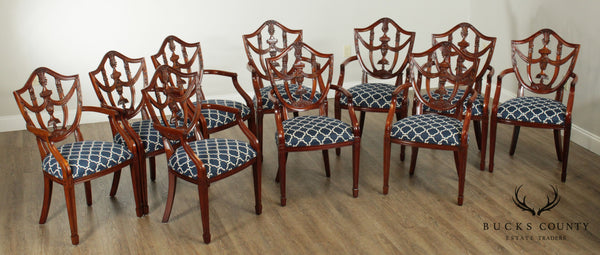 Maitland Smith Hepplewhite Style Set 10 Carved Mahogany Shield Back Dining Chairs