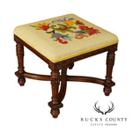 French Louis XVI Style Carved Needlepoint Square Footstool