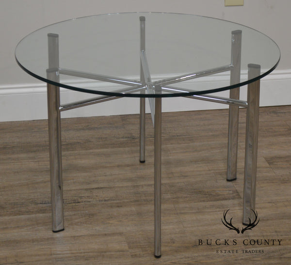 Round Glass Top Side Table w/ Chrome Base