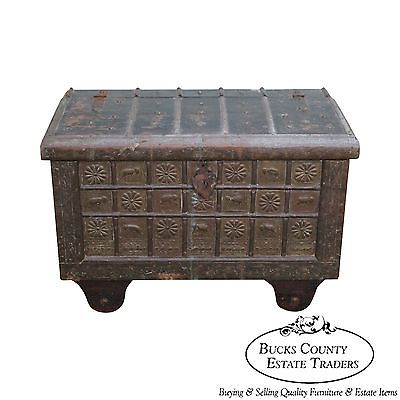 Unusual Antique Moroccan Iron & Brass Bound Lidded Chest