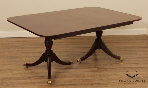 Kindel Vintage Mahogany Double Pedestal Duncan Phyfe Dining Table