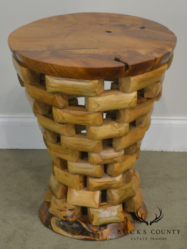 Rustic Round Mixed Stacking Wood Pedestal Side Table