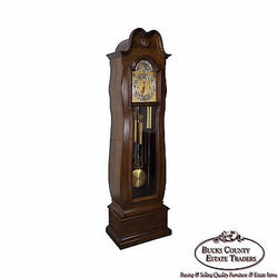 Herschede 9 Tube Mahogany Bombe Tall Case Grandfather Clock