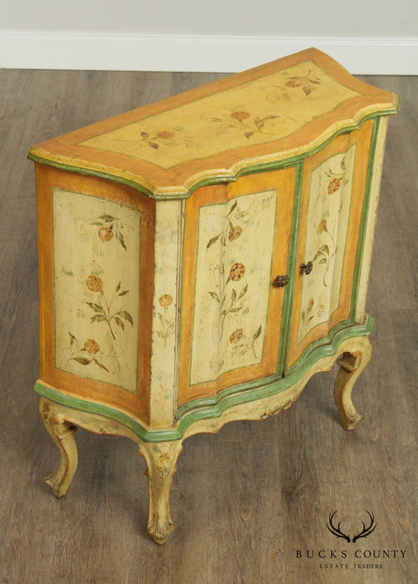 Antique 19th Century Italian Florentine Paint Decorated Commode Console Cabinet