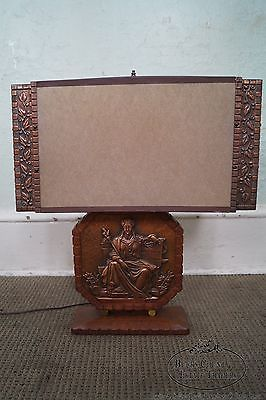 Mid Century Copper Relief Repousse & Teak Lamp w/ Shade by A. Gilles