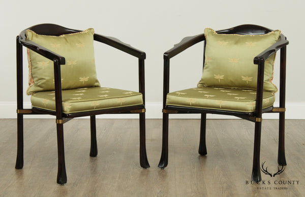 Century Mid Century Asian Inspired Pair Ebony Armchairs