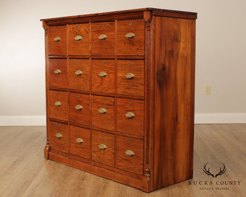 Antique 16 Drawer Large Oak General Store or Haberdashery Cabinet